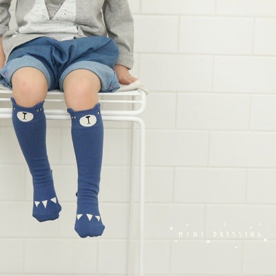 Mini Dressing Bear Knee Socks Blue - Eat Play Love