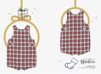 Colettine Red Tartan Christmas  Boy Overall 6-18 months - Eat Play Love