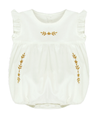 Bonnet a Pompon Cotton Batiste Embroidered Romper - Eat Play Love