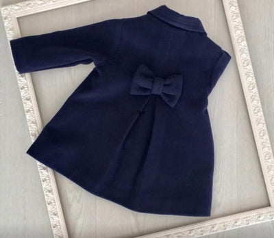 Laivicar Navy Classic Girl Coat with Satin and bow 3-10 years - Eat Play Love