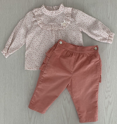 Laivicar Baby Girl Set with Pink Trouser and Flower Print Blouse 6m-2 years - Eat Play Love