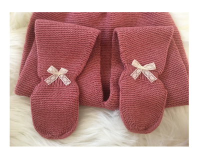 Knitted Set (Hat/Jumper/Trouser) Paloma de la O Raspberry - Eat Play Love