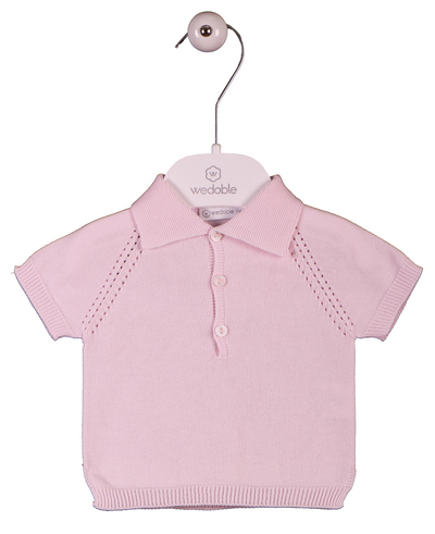 Wedoble Baby Knit Polo Pink - Eat Play Love