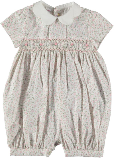 Smocked Romper Pink FLower - Eat Play Love