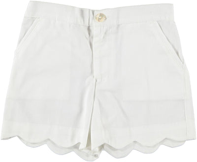 White Scallop Shorts - Eat Play Love