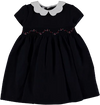 Navy Tweed Smock Girl Dress with Scalloped Collar 2 years - Eat Play Love