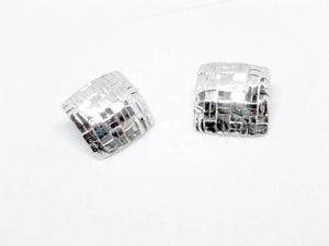 Silver Handwoven Square Earrings