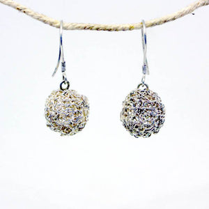 Silver Woven Birds Nest Tapestry Earrings