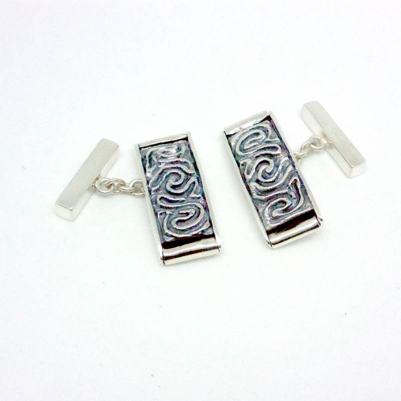 Luxury Sustainable Silver Coral Maze Cufflinks
