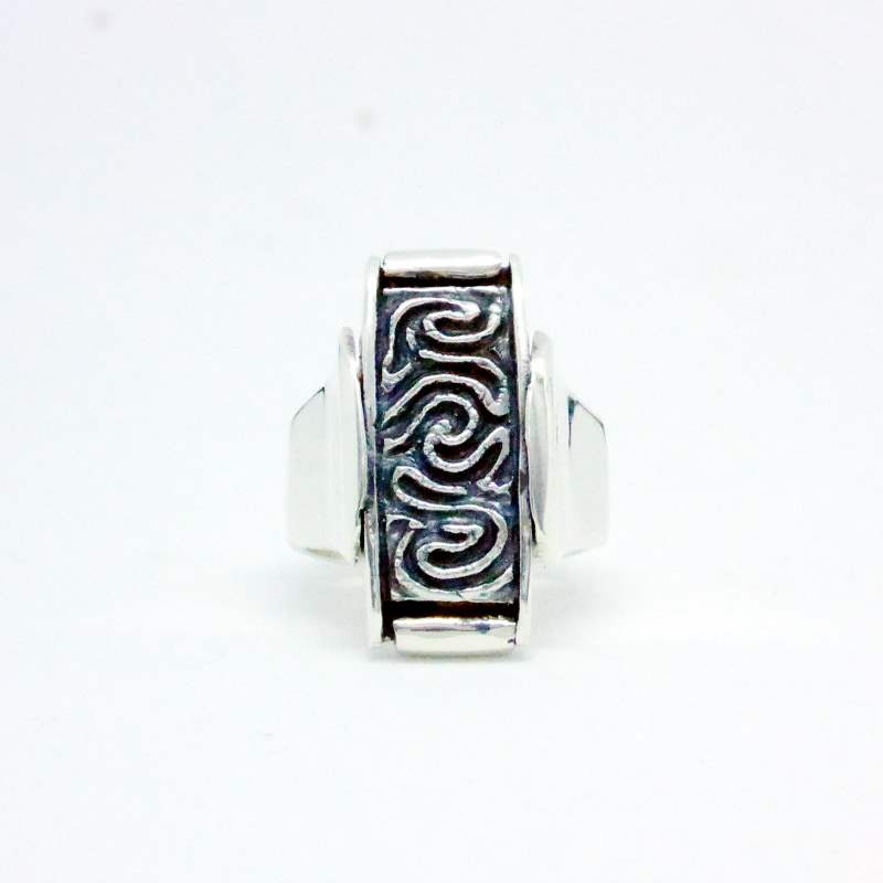 Luxury Sustainable Silver Coral Maze Ring