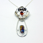 Ethical Silver Flower Orange Sapphire Necklace with Australian Boulder Opal