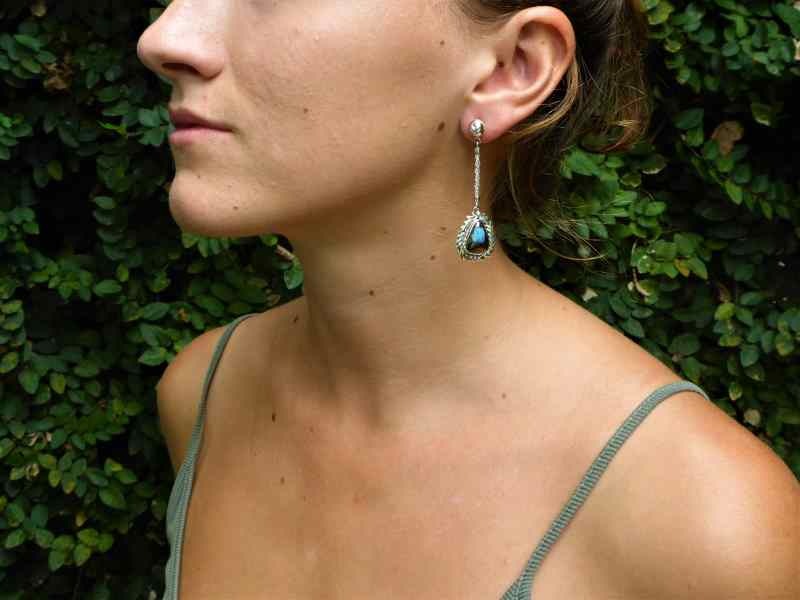 Silver Cupid Arrow Opal Earrings