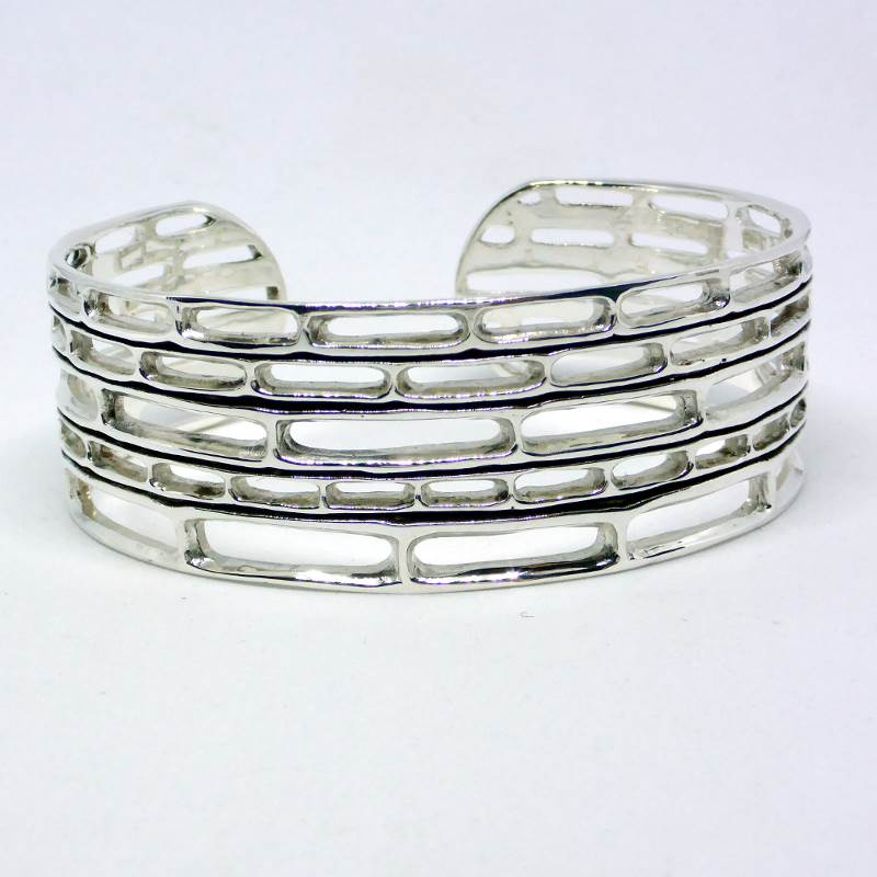 Sustainable Silver Delicate Bamboo Bracelet Cuff