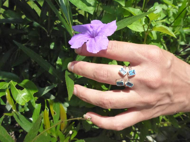Silver Blue Topaz Butterfly Ring