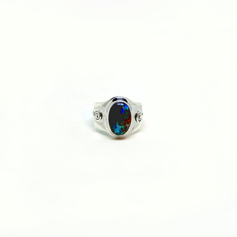 Silver Opal Curled Ring