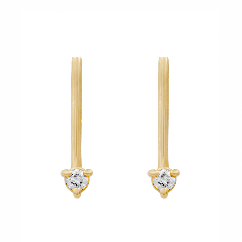 Gara Danielle 14k Gold Arrow Diamond Earrings