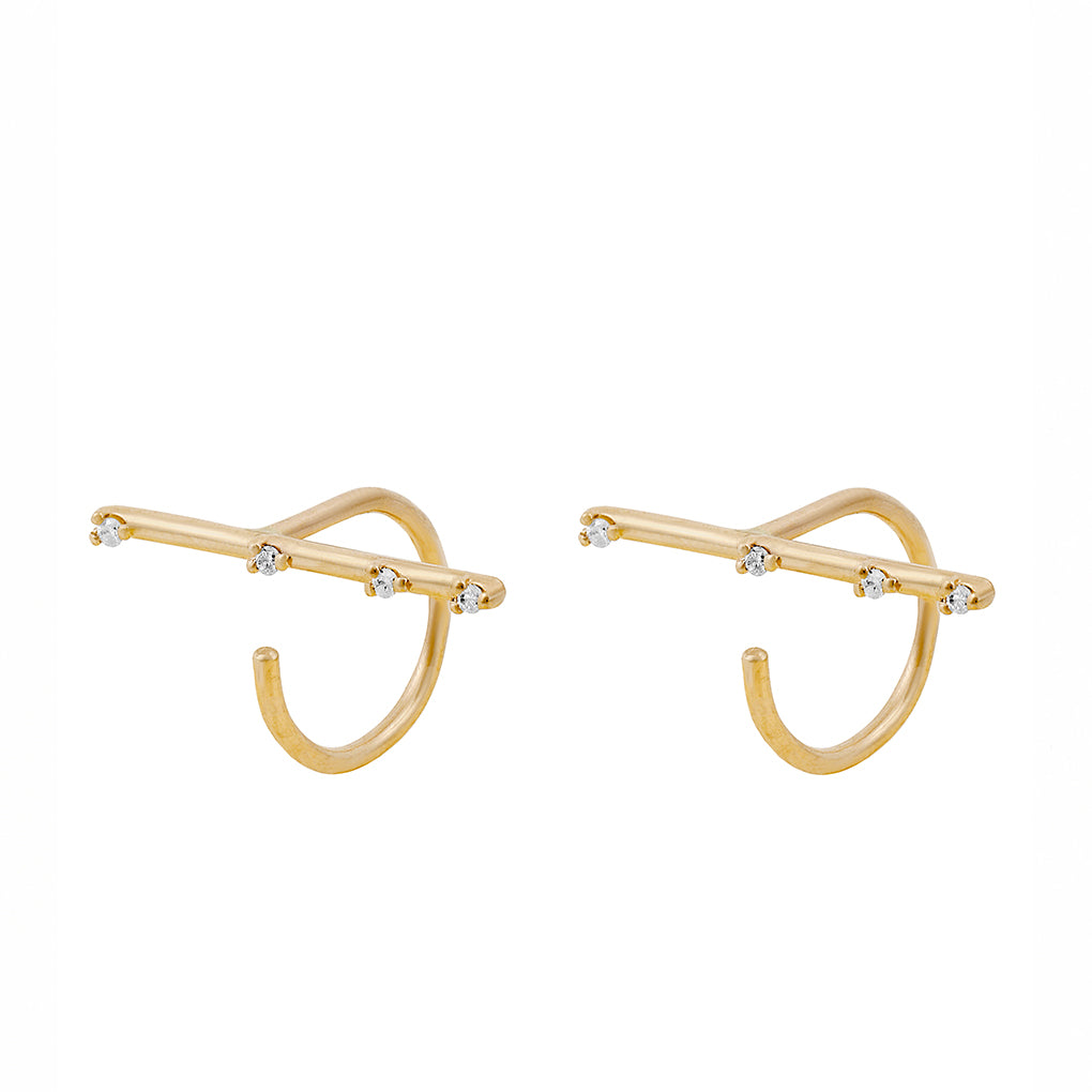 Gara Danielle 14k Gold Diamond Bar Hook Earrings