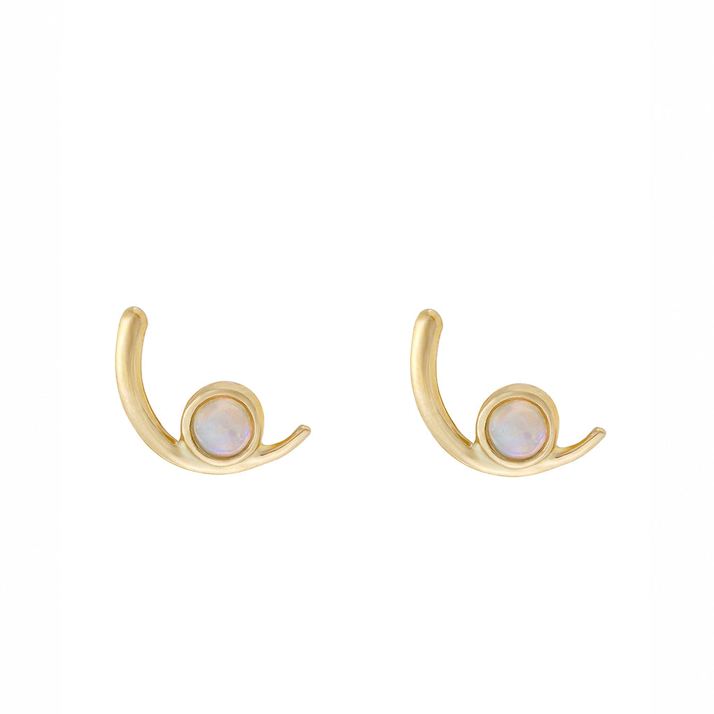 Gara Danielle 14k Gold Half Moon Opal Earrings