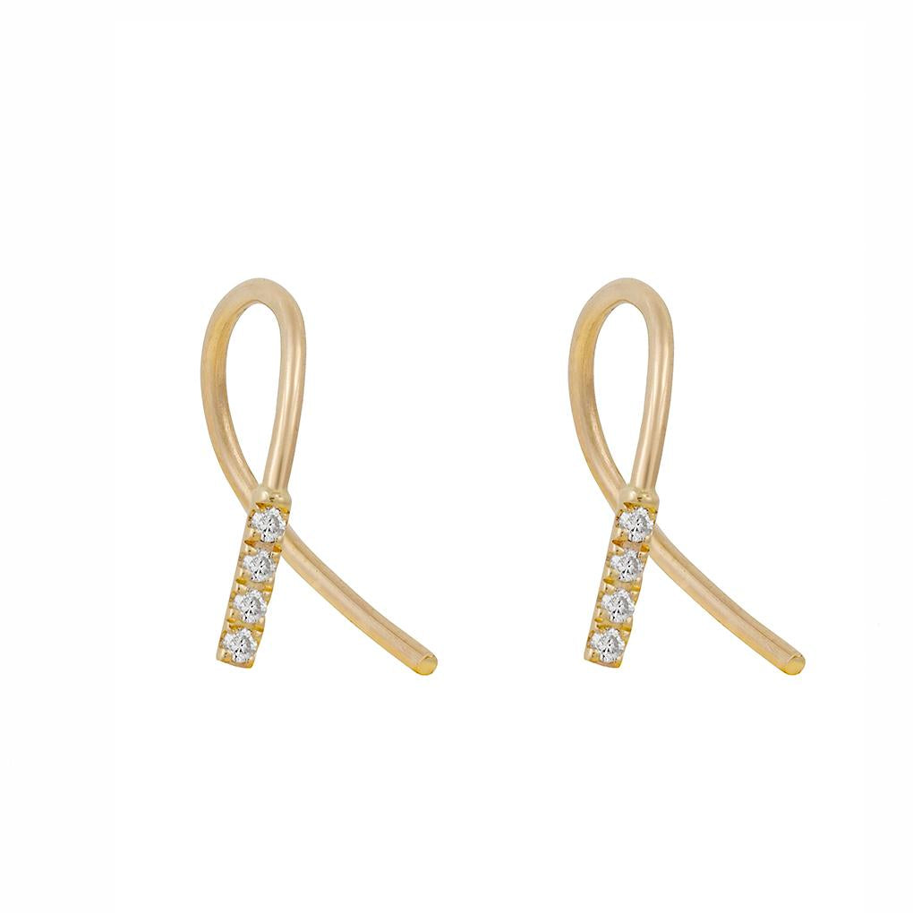 Gara Danielle 14k Gold Twisted Pave Diamond Earrings