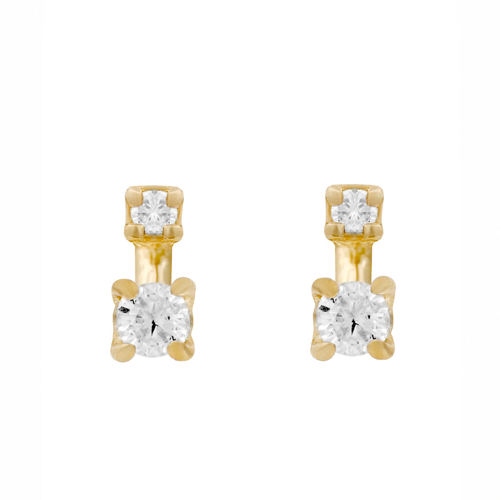 Gara Danielle 14k Gold Two-Stone Diamond Earrings