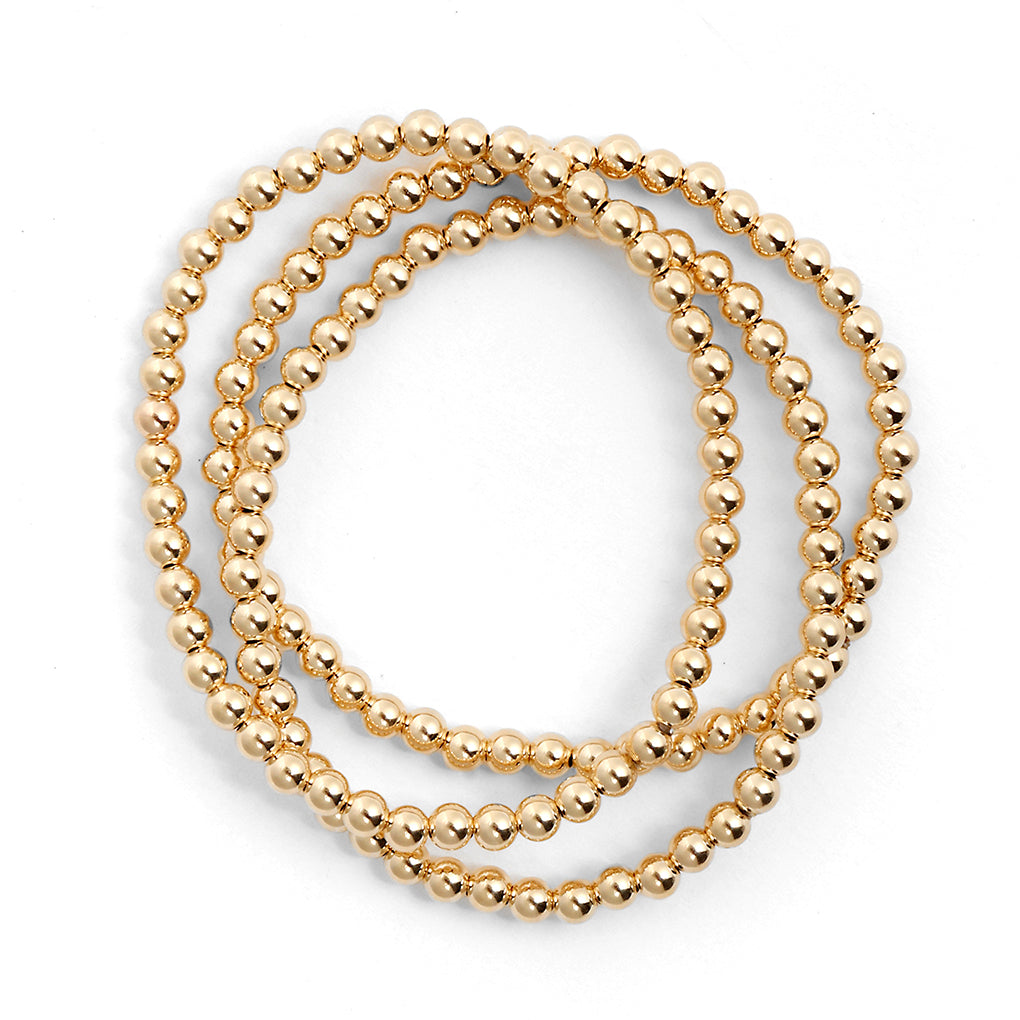 Gara Danielle elastic bracelet with 14k gold-filled 4mm beads