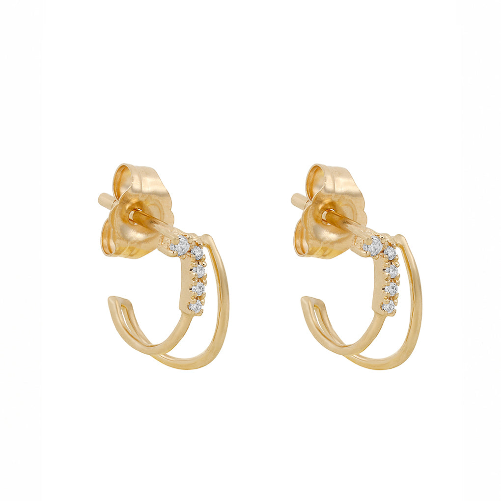 Gara Danielle 14k Gold Half Hoop And Pave Diamond Earrings
