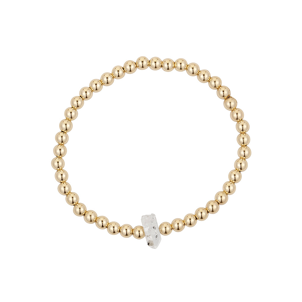 Gara Danielle Herkimer Diamond elastic bracelet with 14k gold-filled beads