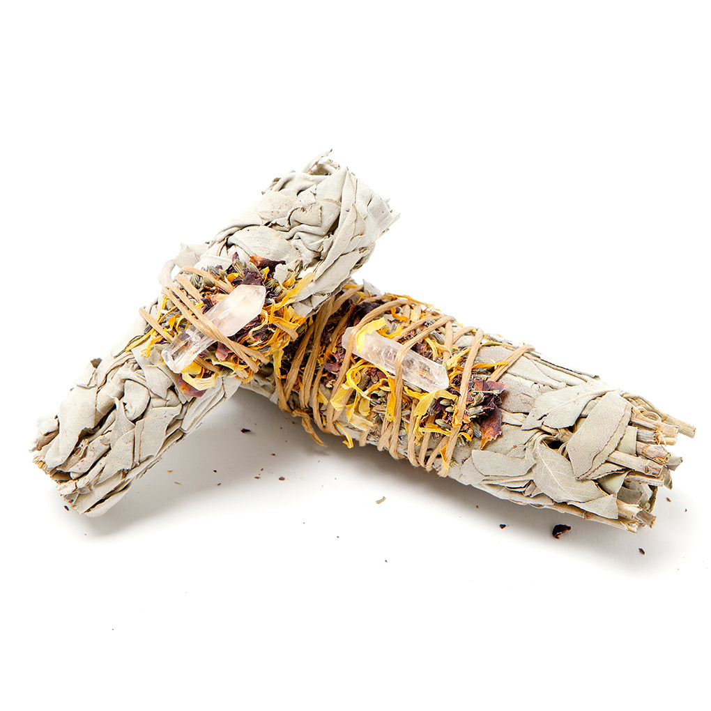 Sage with Dried Flowers and A Quartz Crystal