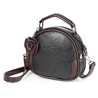 Vintage PU Leather Crossbody Bag With Flower Pendant - iOffizz Shop