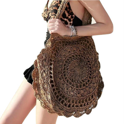 Bohemian Knitted Straw Bag