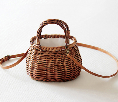 Ribbon Bow Tie-Top Handle Wicker Bag