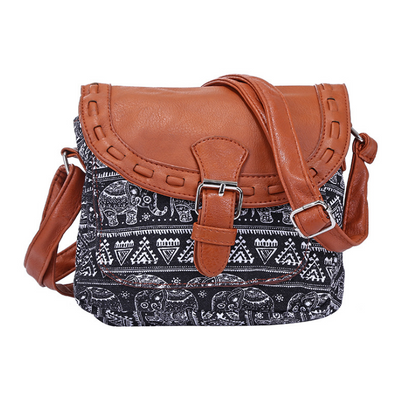 Boho Aztec Tribal Crossbody Bag with Fabric & PU Leather