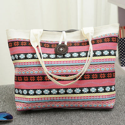 Bolsos Mujer National Wind Printed Canvas Handbag