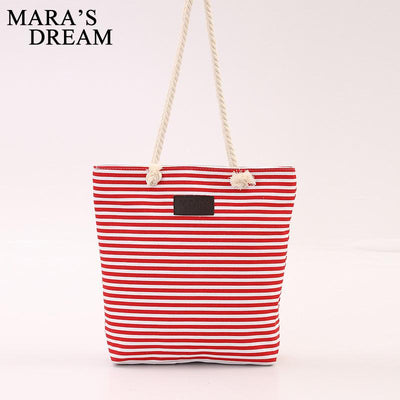 Mara's Dream Canvas Stripe Zipper Shoulder Bag