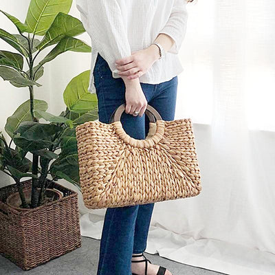 Women Vintage Rattan Handbag Female Bohemian Summer Beach Straw Bags Lady Simple Weave Bag Handmade Casual Large Tote