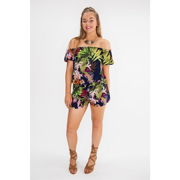 Stay on trend with this casual yet stylish playsuit by adding your favourite pair of heels to go from day to night. Get playful with the Ashna Off The Shoulder Playsuit.