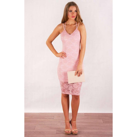 Avisha Floral Lace Bodycon Blush