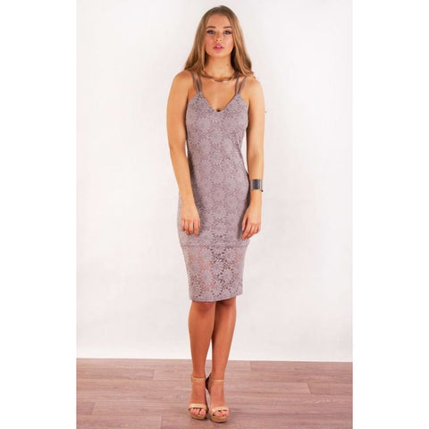 Avisha Floral Lace Bodycon Grey