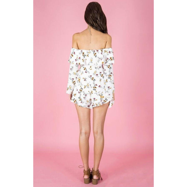you can worry less, live more, and look great while wearing Amora Floral Frill Playsuit offered by Madeleine Grace The Label .