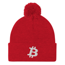Load image into Gallery viewer, BITCOIN Pom Pom Knit Cap - WHITE LOGO