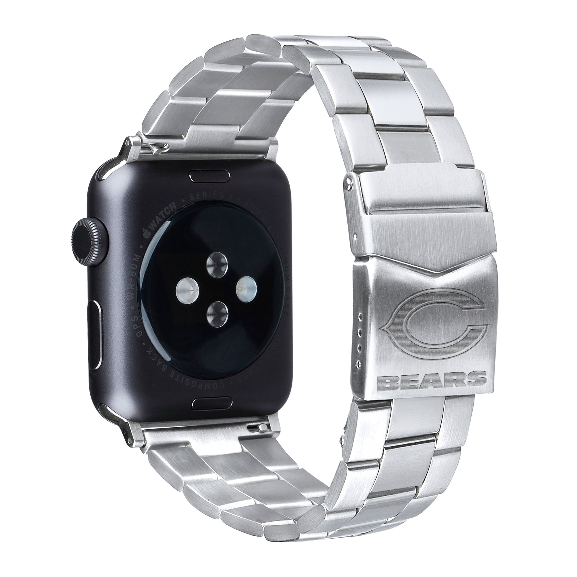 Chicago Bears Stainless Steel Link Style Apple Watch Band - AffinityBands
