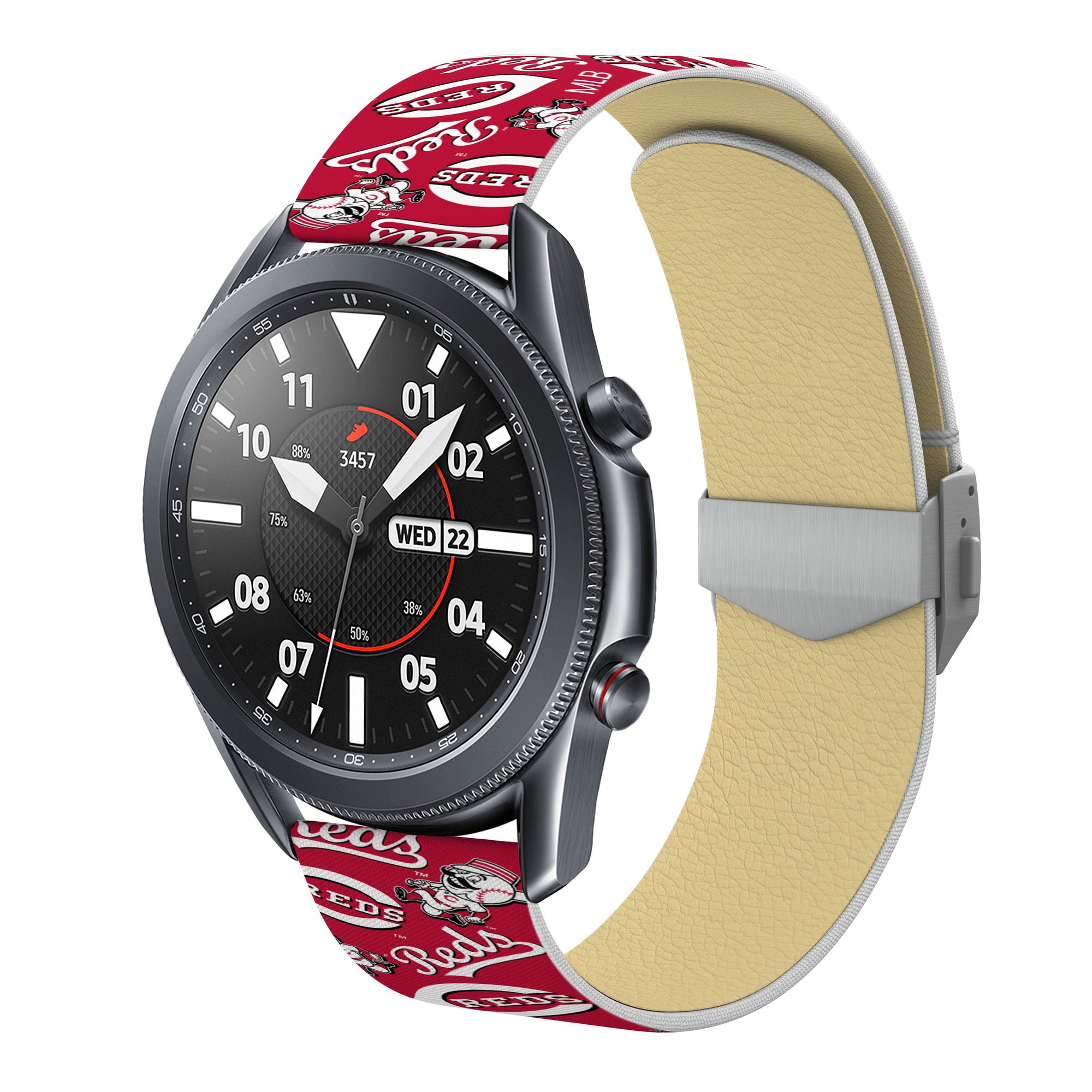 Cincinnati Reds Full Print Quick Change Watch Band With Engraved Buckle - AffinityBands