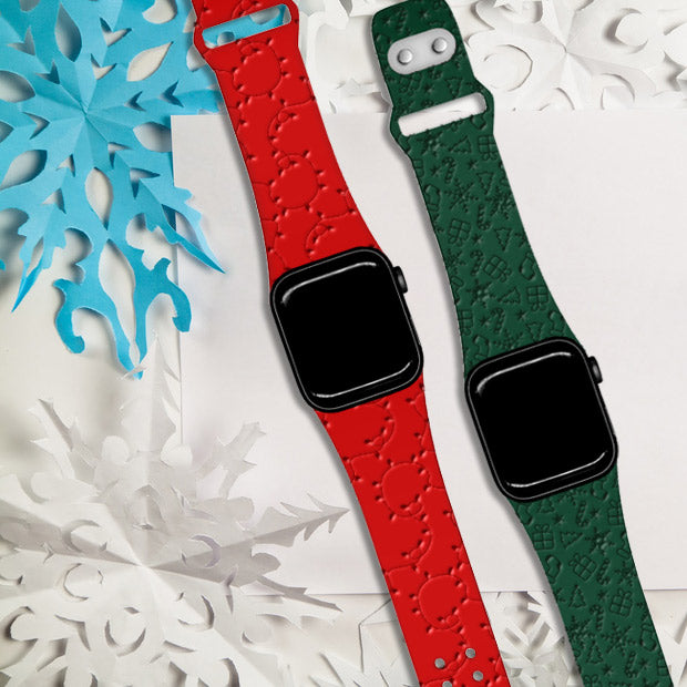 Holidays Patterns - Debossed Apple Silicone Watch Band - AffinityBands