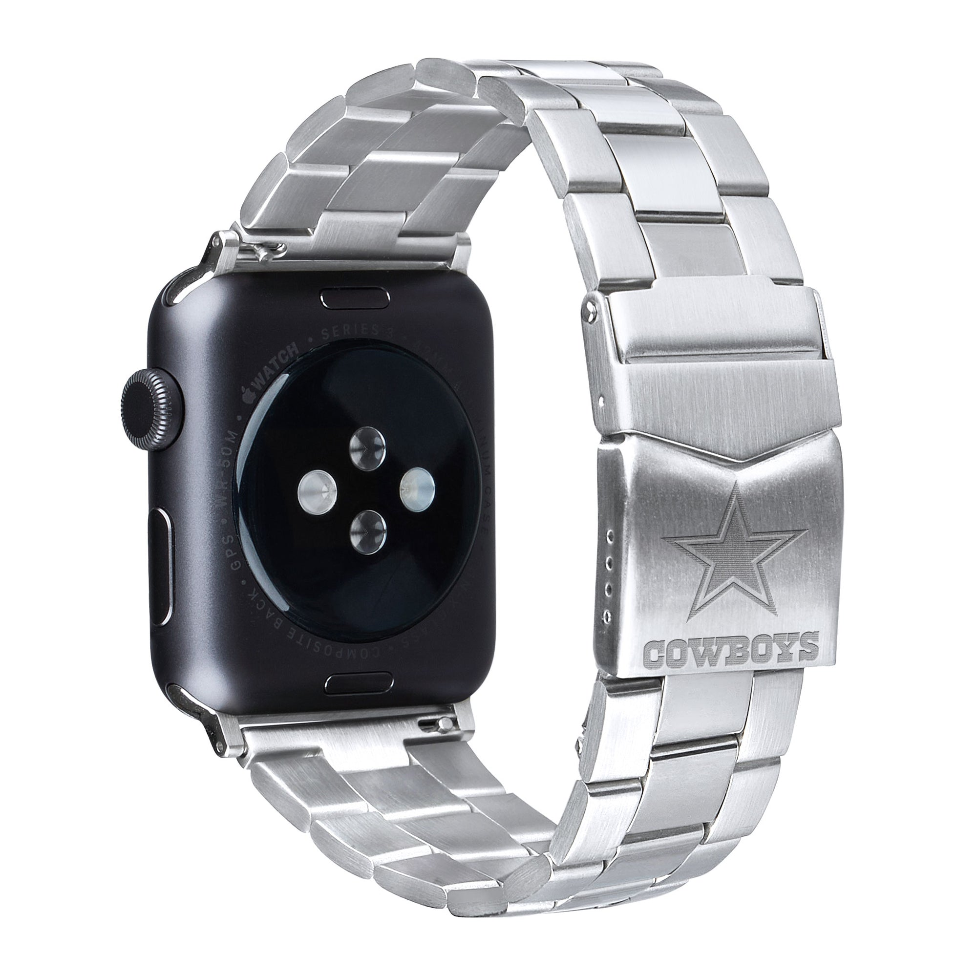 Dallas Cowboys Stainless Steel Link Style Apple Watch Band - AffinityBands