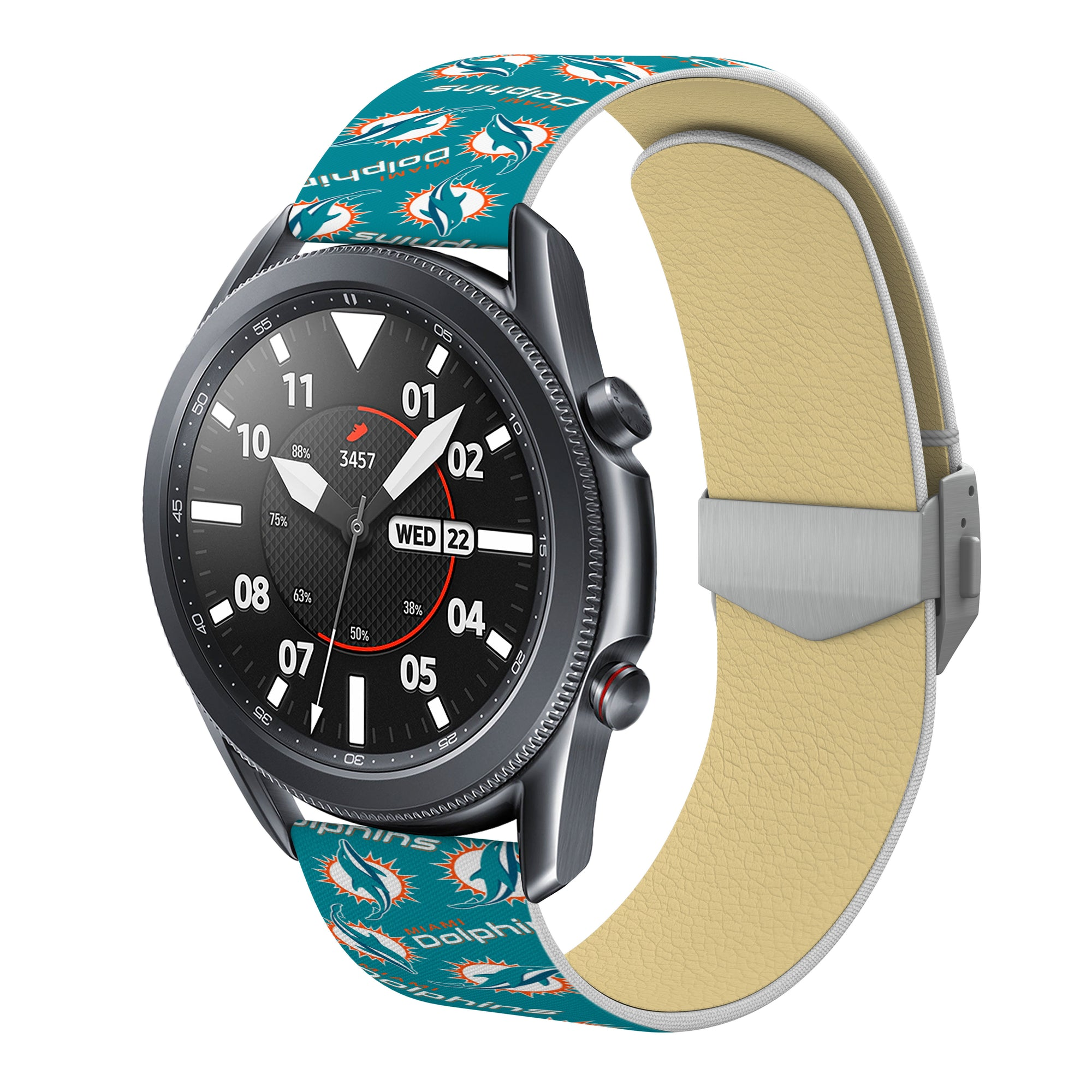 Miami Dolphins Full Print Quick change Watch Band With Engraved Buckle - AffinityBands