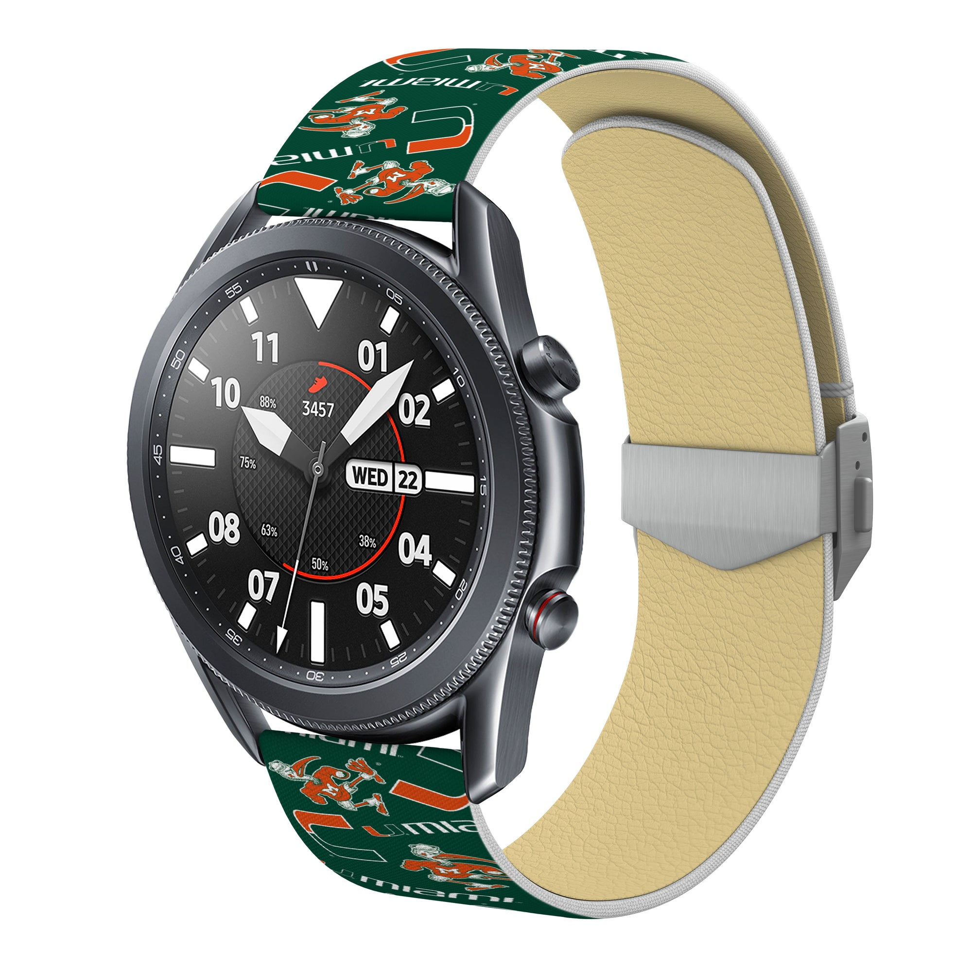Miami Hurricanes Full Print Quick Change Watch Band With Engraved Buckle - AffinityBands