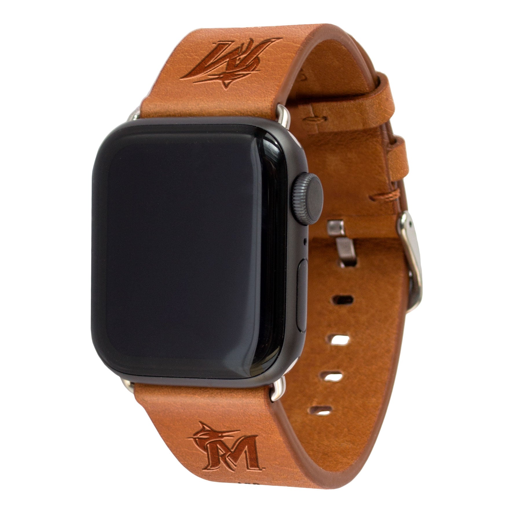 Miami Marlins Leather Band Compatible with Apple Watch