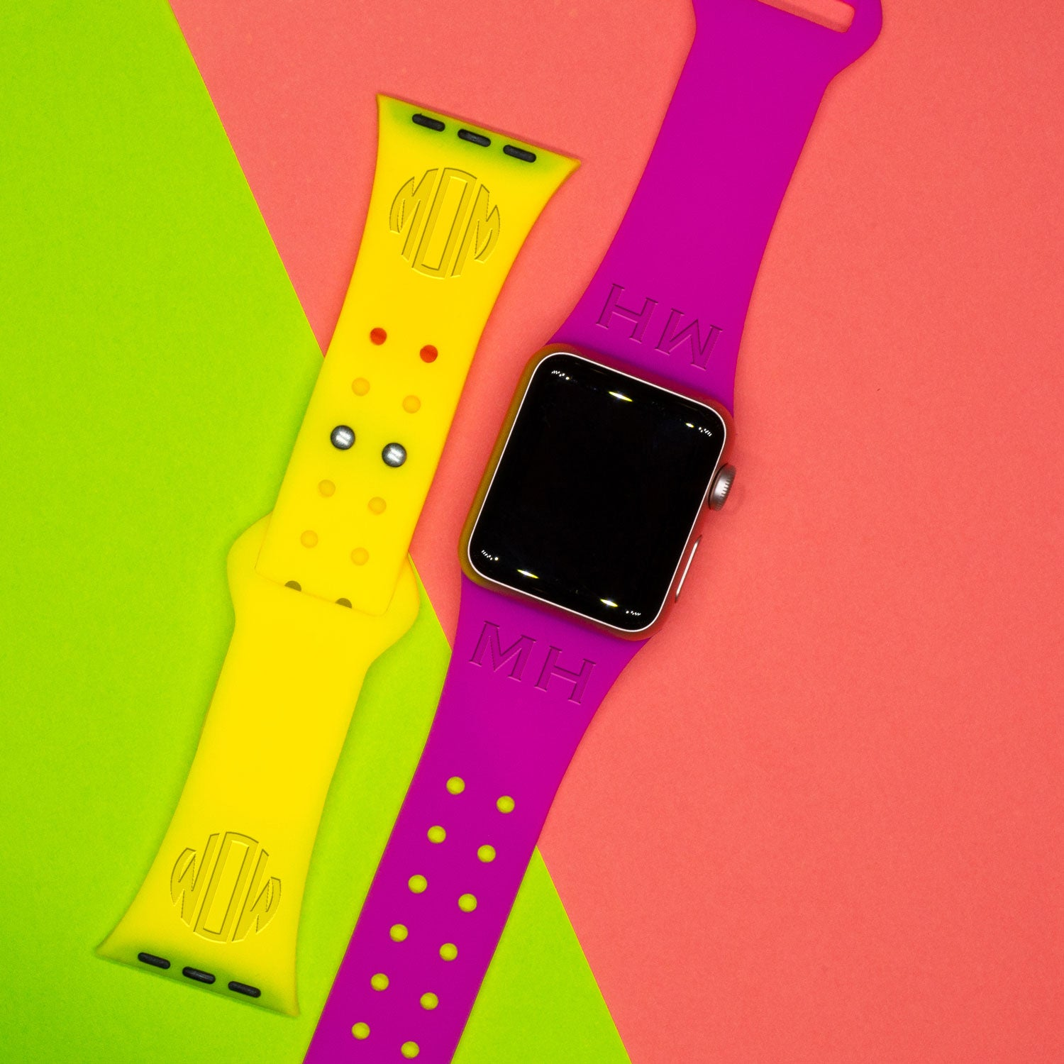 Custom Text or Monogram - Apple Silicone Watch Band - AffinityBands