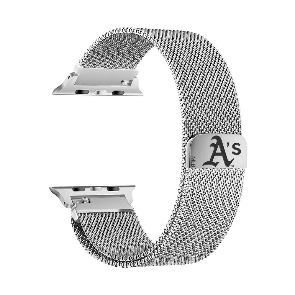 Oakland Athletics Stainless Steel Apple Watch Band - AffinityBands