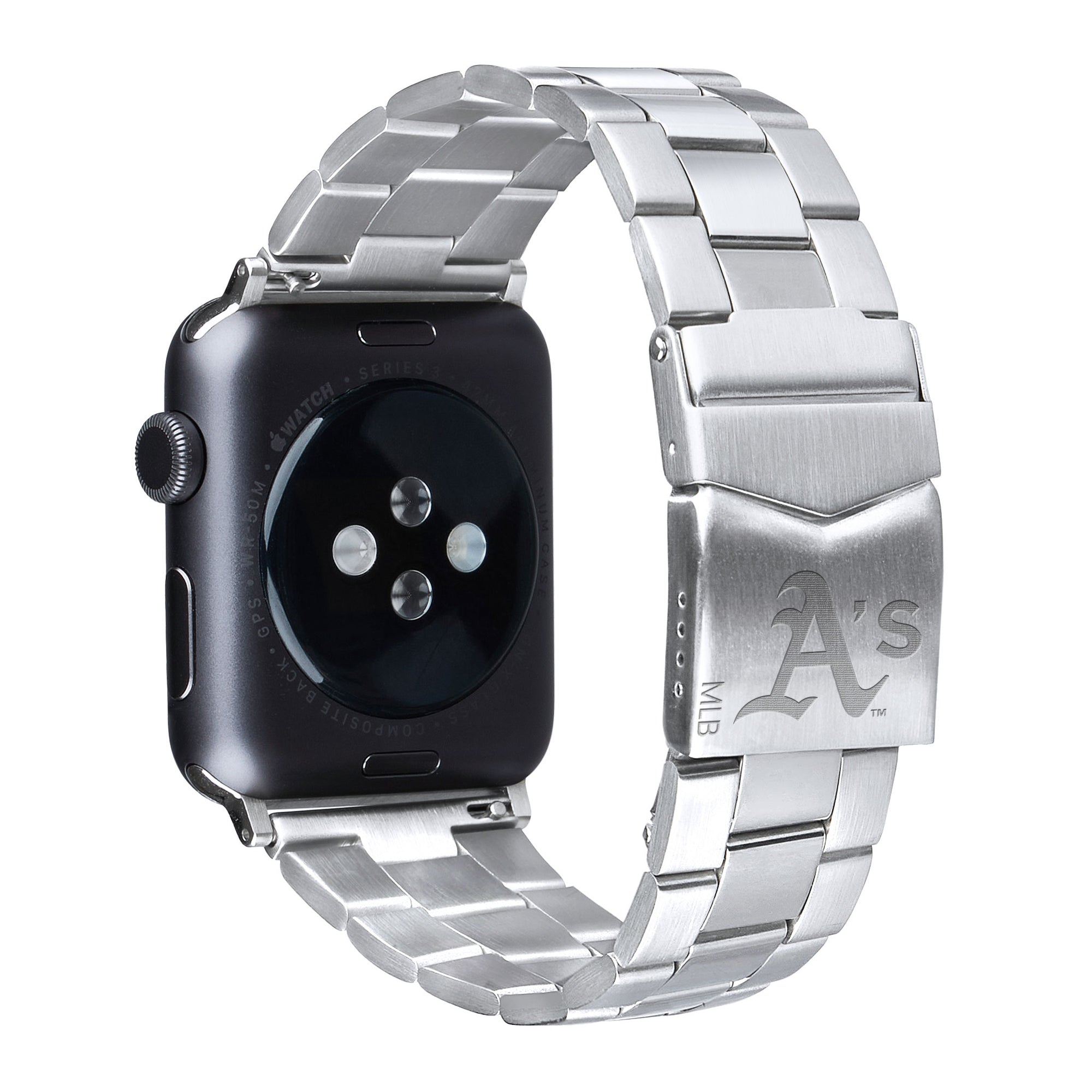 Oakland Athletics Stainless Steel Link Style Apple Watch Band - AffinityBands